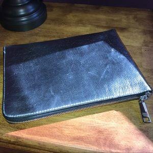 Silver Leather Clutch Organizer